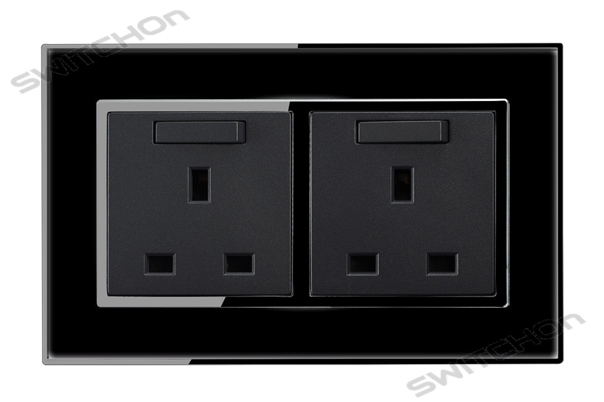 Black Mirror 13 Amp Double Switched Plug Sockets
