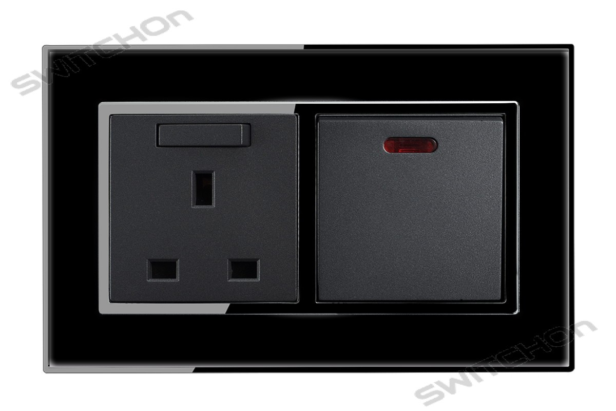 Designer Wall Sockets & Light Switches - Black Mirror Acrylic finish -