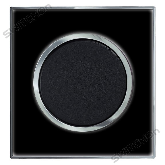 Round Black Mirror Single Light Switch 1 Gang 2 Way
