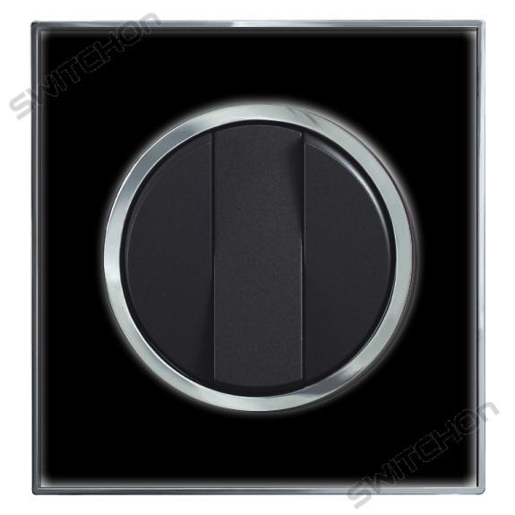 Round Black Mirror Light Switch 3 Gang 2 Way