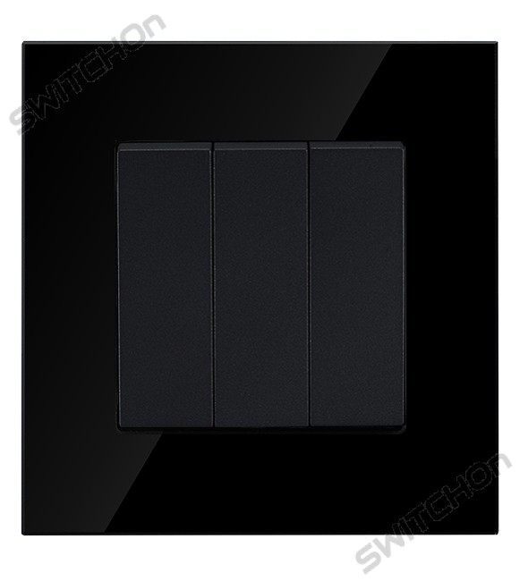 Black Glass 3 Gang 2 Way Light Switch