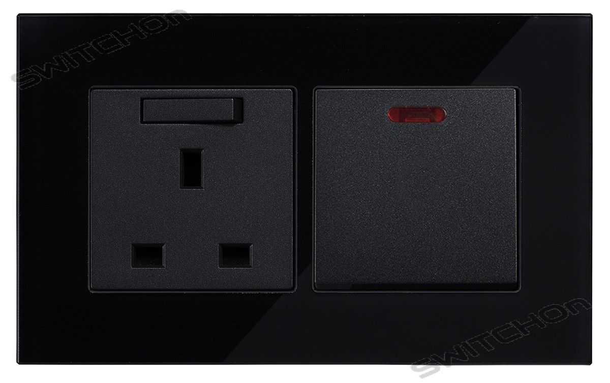 Black Glass 45 amp switch Socket