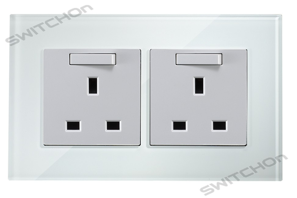White Crystal Glass Double Sockets
