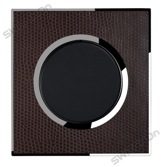 Real Leather Brown Single Round Light Switch 1 Gang 2 Way