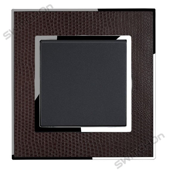Real Leather Brown Single Square Light Switch 1 Gang 2 Way