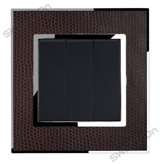 Real Leather Brown Triple Square Light Switch 3 Gang 2 Way
