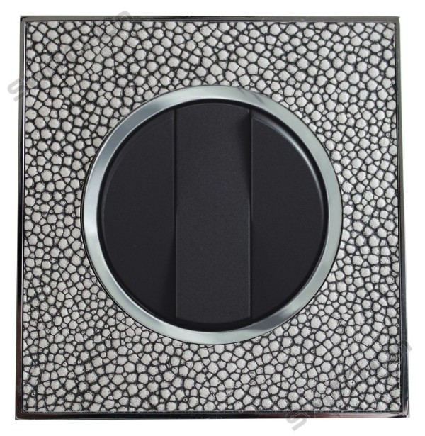 Real Leather Grey Triple Round Light Switch 3 Gang 2 Way