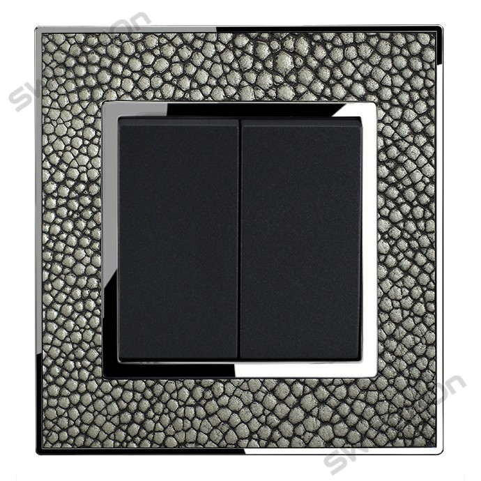 Real Leather Grey Double Square Light Switch 2 Gang 2 Way