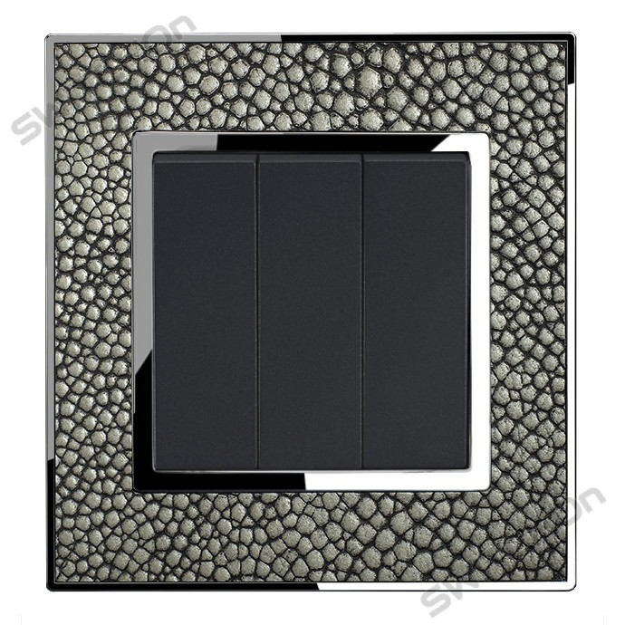 Real Leather Grey Triple Square Light Switch 3 Gang 2 Way