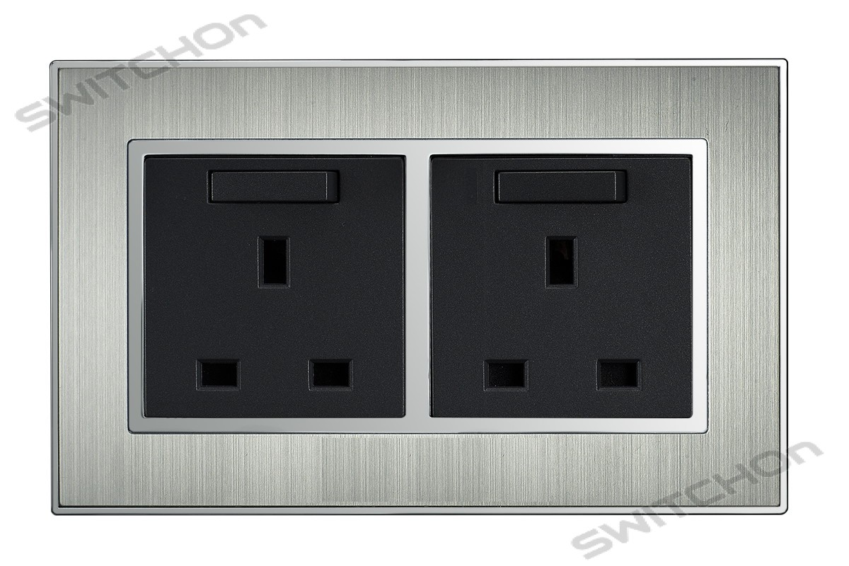 Brushed Satin Silver 13 Amp Double Switched Plug Sockets