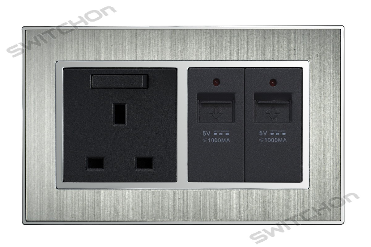Wall Socket with 2x USB Charging Ports in Satin Metal Silver