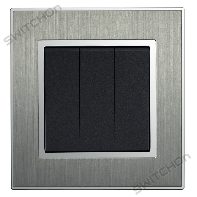 Square Brushed Satin Silver Triple Light Switch 3 Gang 2 Way