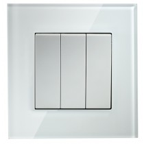 White Glass 3 Gang 2 Way Light Switch