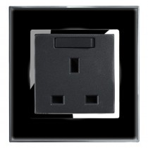 Black Mirror 13 Amp Single Switched Plug Socket