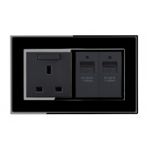 USB Charging ports Piano Black Wall socket
