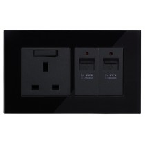 Black Glass Wall USB Charging Socket