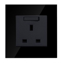13 amp single Socket in Black Glass