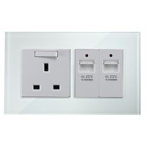 White Glass Wall USB Charging Socket