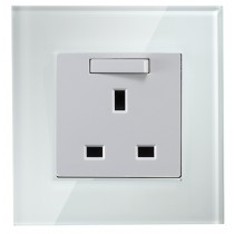 White Colour 13 amp 1 gang single socket Glass