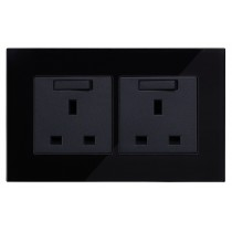 Black Glass 13amp Double Sockets
