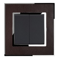 Real Leather Brown Double Square Light Switch 2 Gang 2 Way