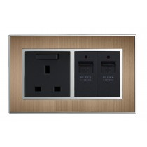 USB Charging ports Satin Metal Bronze Wall socket