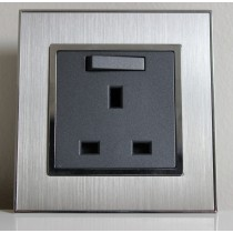 Brushed Satin Silver 13 Amp Single Switched Plug Socket