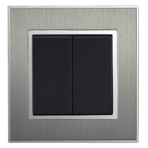 Square Brushed Satin Silver Double Light Switch 2 Gang 2 Way