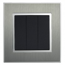 Square Brushed Satin Silver Triple Light Switch 4 Gang 2 Way