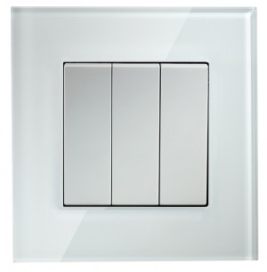 White Glass 3 Gang 2 Way Light Switch