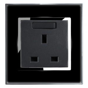 Black Mirror 13 Amp Single Switched Plug Socket