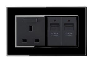 USB Charging ports Piano Black Wall socket