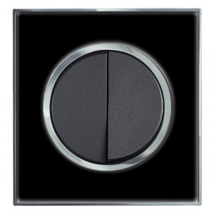 Round Black Mirror Double Light Switch 2 Gang 2 Way