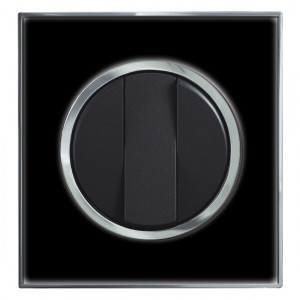 Round Black Mirror Light Switch 3 Gang 2 Way