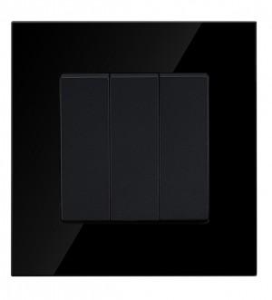 Black Glass 3 Gang 2 Way Light Switch