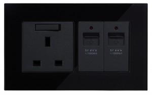Black Glass Wall USB Charging Socket