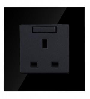 13 amp single Socket in Black Glass