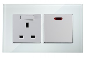 45amp appliance switch with Socket (White)