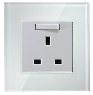 White Colour 13 amp 1 gang single socket Glass