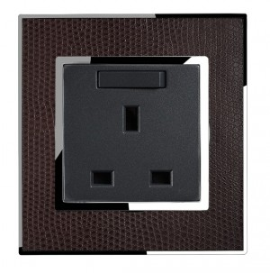 13A single Socket in Real Leather Brown
