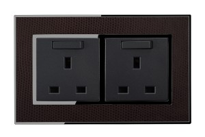 Real Leather Brown 13 Amp Double Switched Plug Sockets