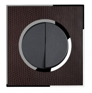 Real Leather Brown Double Round Light Switch 2 Gang 2 Way