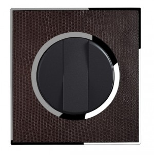 Real Leather Brown Triple Round Light Switch 3 Gang 2 Way