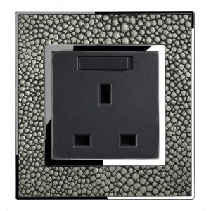 Real Leather Grey  13 Amp Single Switched Plug Socket