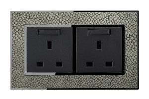 Real Leather Grey 13 Amp Double Switched Plug Sockets