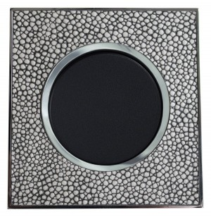 Real Leather Grey Single Round Light Switch 1 Gang 2 Way