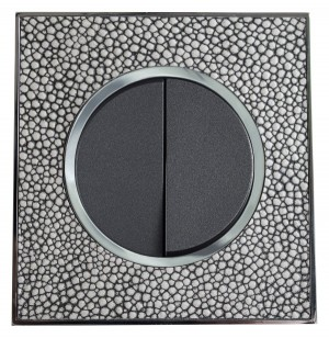 Real Leather Grey Double Round Light Switch 2 Gang 2 Way