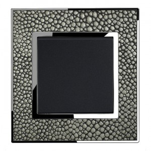 Real Leather Grey Single Square Light Switch 1 Gang 2 Way
