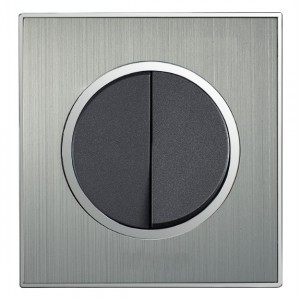Round Brushed Satin Silver Double Light Switch 2 Gang 2 Way