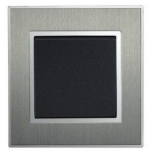 Square Brushed Satin Silver Single Light Switch 1 Gang 2 Way